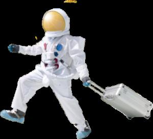 astronaut mit Koffer